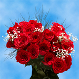 24 Stems of Red Roses with Fillers