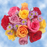 14 Colorful Roses & Asters Wedding Centerpieces                                                              For Delivery to Georgia
