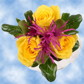8 Precious Yellow Roses, Eryngiums & Pittosporums Centerpieces