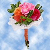8 Superb Orange, Pink Roses & Mini Carnations Nosegays                                                              For Delivery to Tennessee