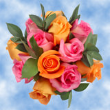 14 Fantastic Pink Roses, Ruscus & Orange Roses Centerpieces                                                              For Delivery to West_Virginia