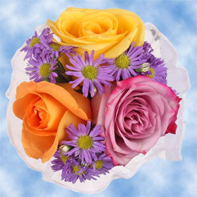8 Cheerful Multicolor Roses & Purple Asters Centerpieces