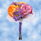 8 Cheerful Multicolor Roses & Purple Asters Nosegays