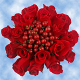 9 Passionate Red Roses & Hypericums Wedding Centerpieces