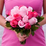 6 Beautiful Dark Pink and Light Pink Royal Bridesmaids Rose Bouquets
