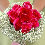 3 Beautiful Dark Pink Classic Rose Bridesmaids Bouquets                                                              For Delivery to South_Dakota
