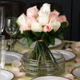 3 Sweet Wedding Centerpieces with Light Pink & Ivory Roses
