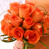 6 Beautiful Orange Romantic Bridesmaids Rose Bouquets                                                              For Delivery to Alaska