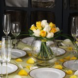 3 Beautiful Wedding Centerpieces with Yellow & White Roses