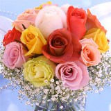 6 Joyful Wedding Centerpieces with Assorted Color Roses                                                              For Delivery to Maryland