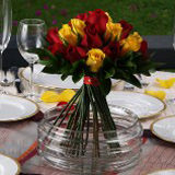 6 Romantic Wedding Centerpieces with Red & Yellow  Roses