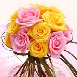 12 Colorful Wedding Centerpieces with Yellow & Pink Roses                                                              For Delivery to Alaska