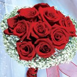 Classic Bridal Bouquet with Red Roses