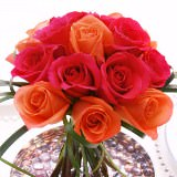 3 Terrific Wedding Centerpieces with Dark Pink & Orange Roses                                                              For Delivery to Louisiana