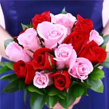 6 Light Pink and Red Royal Bridesmaids Rose Bouquets