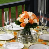 6 Chic Wedding Centerpieces with Orange & Ivory Roses
