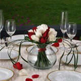 6 Elegant Wedding Centerpieces with Red & White Roses                                                              For Delivery to Florida
