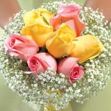 3 Yellow and Pink Classic Rose Bridesmaids Bouquets