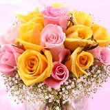 12 Tender Wedding Centerpieces with Yellow & Pink Roses