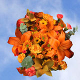 2 Fall Orange Flower Bouquets