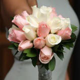 6 Light Pink and White Royal Bridesmaids Rose Bouquets