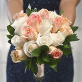 6 Peach and White Royal Bridesmaids Rose Bouquets