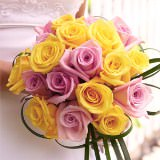 Romantic Bridal Bouquet with Yellow & Light Pink Roses