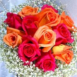 Gorgeous Classic Bridal Bouquet with Dark Pink & Orange Roses