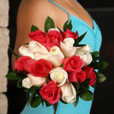 3 Gorgeous Dark Pink and White Royal Rose Bridesmaid Bouquets