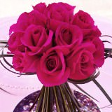 6 Vivid Wedding Centerpieces with Dark Pink Roses                                                              For Delivery to South_Carolina