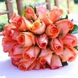 Gorgeous Royal Bridal Bouquet with Orange Roses