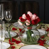 6 Gorgeous Wedding Centerpieces with Red & Pink Roses                                                              For Delivery to Hawaii