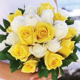 Gorgeous Royal Bridal Bouquet with White & Yellow Roses