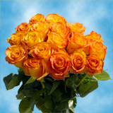 50 Stems of Yellow Roses with Orange Tips, Kerio Roses                                                              For Delivery to Arkansas