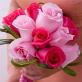 3 Dark Pink and Light Pink Romantic Rose Bridesmaids Bouquets