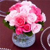 3 Alluring Wedding Centerpieces with Dark Pink & Light Pink Roses                                                              For Delivery to Montana