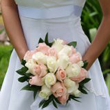 Royal Bridal Bouquet with Light Pink and White Roses