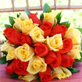 Royal Bridal Bouquet with Yellow & Orange Roses