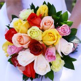 Bridal Bouquet with Assorted Color Roses & Ruscus