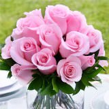 3 Tender Wedding Centerpieces with Light Pink Roses                                                              For Delivery to South_Carolina