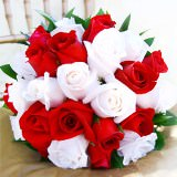Premium Royal Bridal Bouquet with Red & White Roses