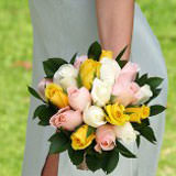 3 Premium Yellow, Light Pink, and White Royal Rose Bridesmaids Bouquets