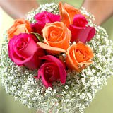 6 Vibrant Hot Pink and Orange Classic Bridesmaids Rose Bouquets