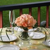 3 Delicate Wedding Centerpieces with Peach Roses