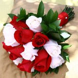 3 Vibrant Red and White Royal Rose Bridesmaid Bouquets