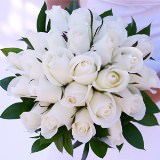 Vibrant Royal Bridal Bouquet with White Roses