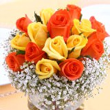 12 Vibrant Yellow and Orange Classic Wedding Rose Centerpieces                                                              For Delivery to New_Jersey