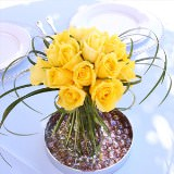 6 Sunshine Wedding Centerpieces with Yellow Roses