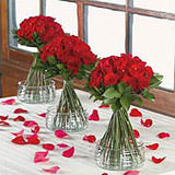12 Wedding Table Centerpieces with Roses & Ruscus