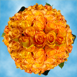 150 X Long Stems of  Yellow Roses with Orange Tips, Kerio Roses